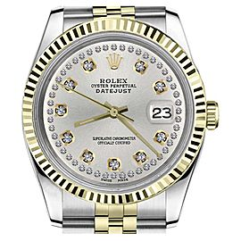 Rolex Datejust 2Tone Silver Color String Diamond Accent Dial Womens 36mm Watch
