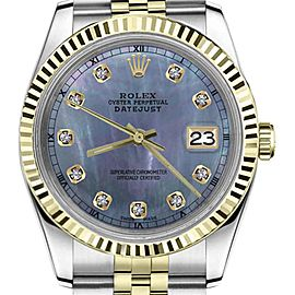 Rolex Datejust 2Tone Tahitian MOP Mother of Pearl Diamond Dial Womens 36mm Watch