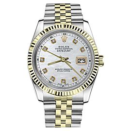 Rolex Datejust 2Tone White MOP Mother of Pearl Dial with Diamond 36mm Watch