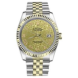 Rolex Datejust 2Tone Champagne Gold Jubilee Roman Numeral Dial Womens 36mm Watch
