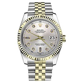 Rolex Datejust 2Tone Silver Color Dial with 8+2 Diamond Accent Womens 36mm Watch