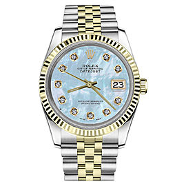 Rolex Datejust Two Tone Blue Mother Of Pearl Dial with Diamond Accent Womens 36mm Watch