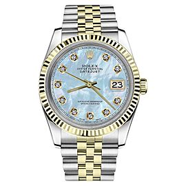 Rolex Datejust Two Tone Baby Blue Mother Of Pearl Dial with Diamond Womens 36mm Watch