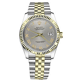 Rolex Datejust Two Tone Slate Grey Roman Numeral Dial Womens 36mm Watch