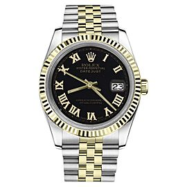 Rolex Datejust Two Tone Black Color Roman Numeral Dial Womens 36mm Watch