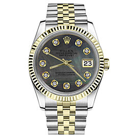 Rolex Datejust Two Tone Black Mother Of Pearl Dial with Diamonds Womens 36mm Watch