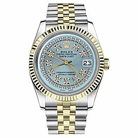Rolex Datejust Two Tone Ice Blue String Diamond Dial Mens 36mm Watch