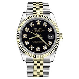 Rolex Datejust 2Tone Black Color Dial Diamonds Womens 26mm Watch