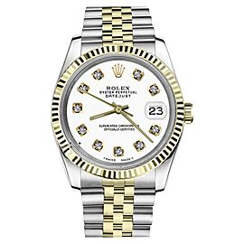 Rolex Datejust 2Tone White Color Dial with Diamonds Womens 36mm Watch