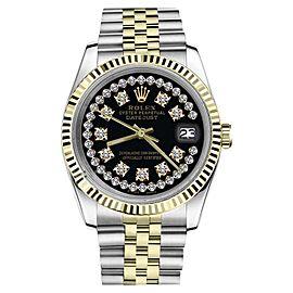 Rolex Datejust 2Tone Black String Diamond Accent Dial SP Womens 36mm Watch