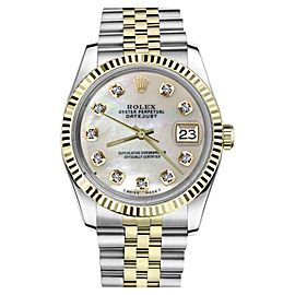 Rolex Datejust 2Tone White MOP Mother Of Pearl Diamond Dial Womens 36mm Watch