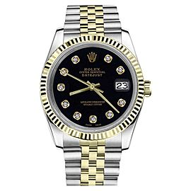 Rolex Datejust 2Tone Black Color Dial with Diamond Accent Womens 26mm Watch
