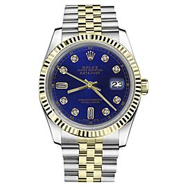 Rolex Datejust 2Tone Blue Color Dial with 8+2 Diamond Accent Womens 36mm Watch