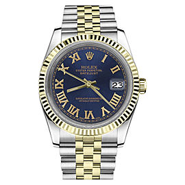 Rolex Datejust Two Tone Blue Color Roman Numeral Dial 36mm Watch