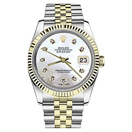 Rolex Datejust Two Tone White Mother of Pearl Dial with Diamond 36mm Mens Watch
