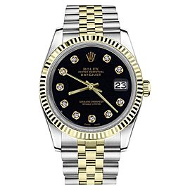 Rolex Datejust Two Tone Black Color Dial Diamond Accent 36mm Watch
