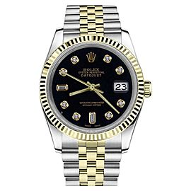 Rolex Datejust2Tone Black Color Dial with 8+2 Diamond Accent Womens Watch 36mm