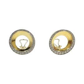 Tiffany &Co. Platinum 18K Yellow Gold Angela Cummings Diamond Round Spiral Earrings