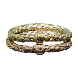 Chimento 18K Yellow & Rose Gold & Diamond Italy Set of 2 Bangle Bracelet