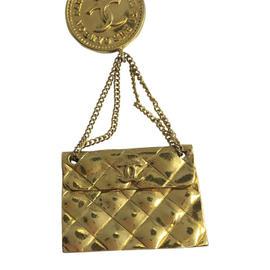 Chanel Gold Tone Pin Double C Logo Medallion & Hanging Mini Handbag