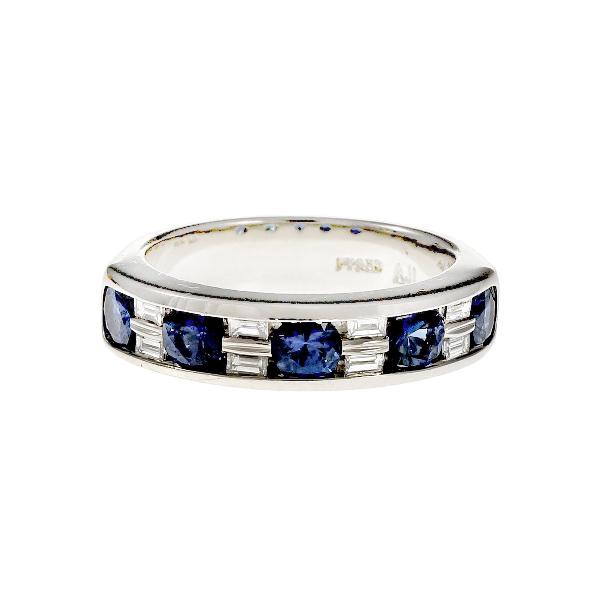 "Image of ""Platinum with Round Sapphire & Baguette Diamond Band Ring Size 6.5"""