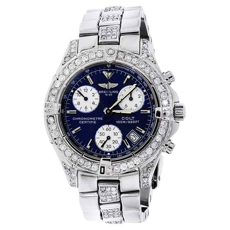 "Image of ""Breitling Colt Chronograph A73350 Stainless Steel Diamond Watch"""