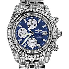Breitling Evolution Watch With Custom Added 15ct Of Genuine Diamonds Mens Watch