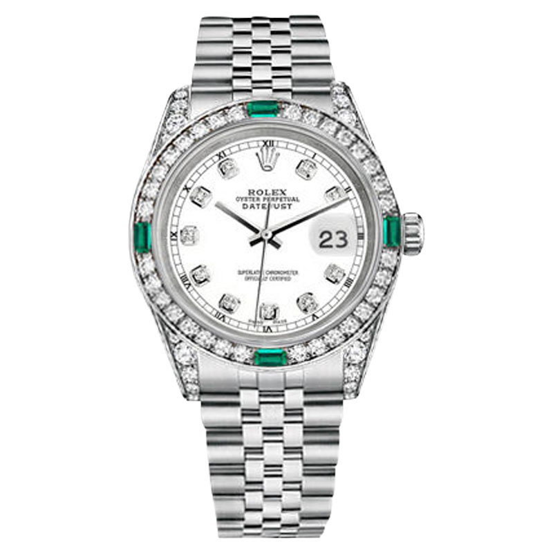 """Image of """"Rolex Datejust Stainless Steel White Emerald Diamond 36mm Watch"""""""