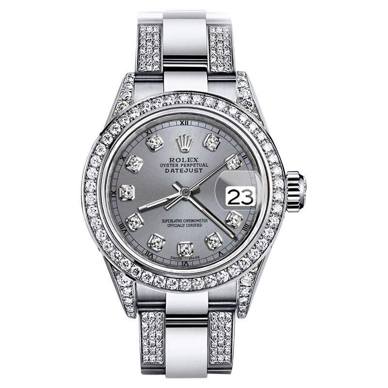 "Image of ""Rolex Oyster Perpetual Datejust Stainless Steel and Diamond Grey Color"""