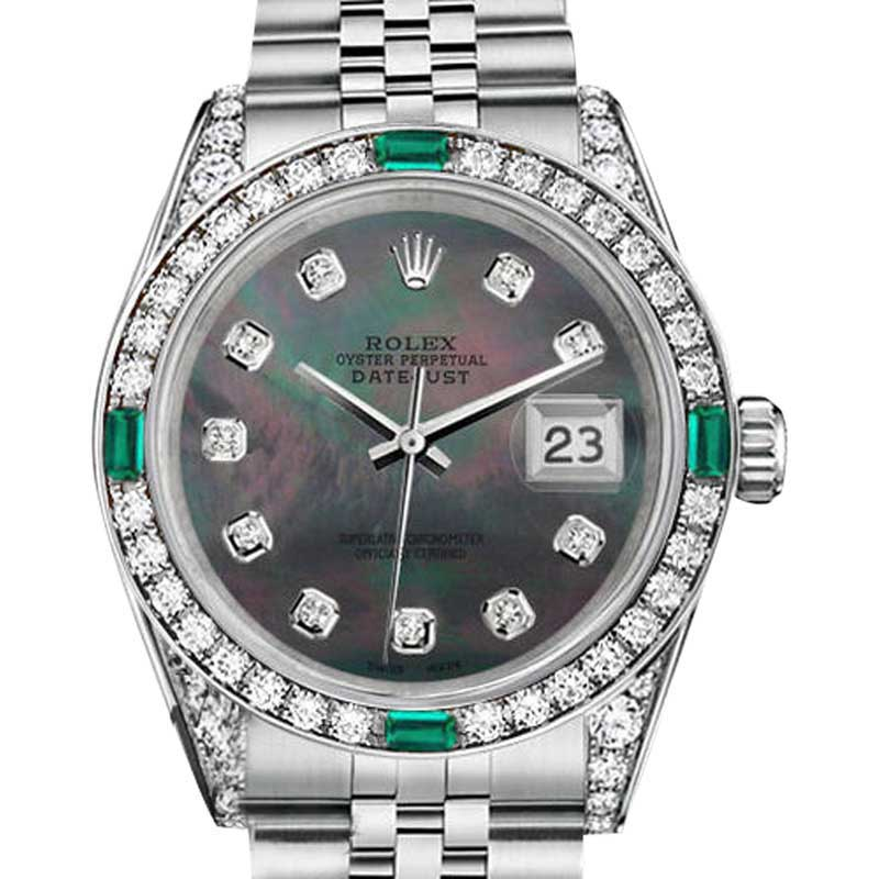 """Image of """"Rolex Datejust Stainless Steel Black Mother Of Pearl Emerald and"""""""