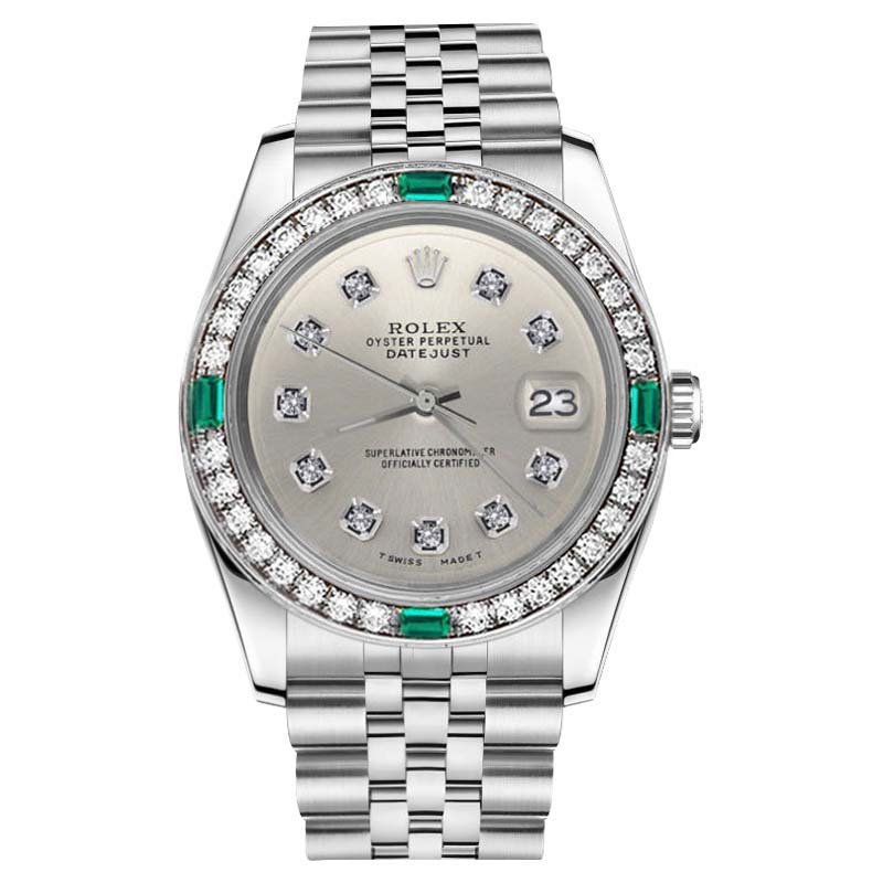"""Image of """"Rolex Datejust Stainless Steel Silver Diamond Dial Emerald Unisex 36mm"""""""