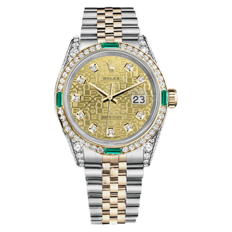 "Image of ""Rolex Datejust Steel-Gold Champagne Gold Diamond Emerald Women's Watch"""