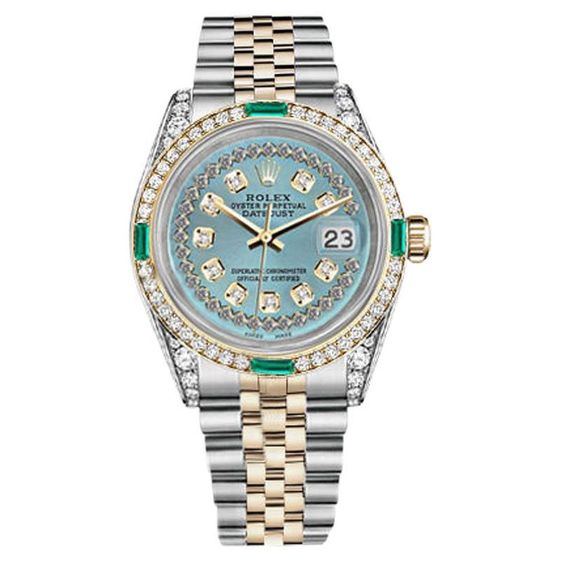 "Image of ""Rolex Datejust Steel-Gold IceBlue String Emerald Diamond Dial Women's"""