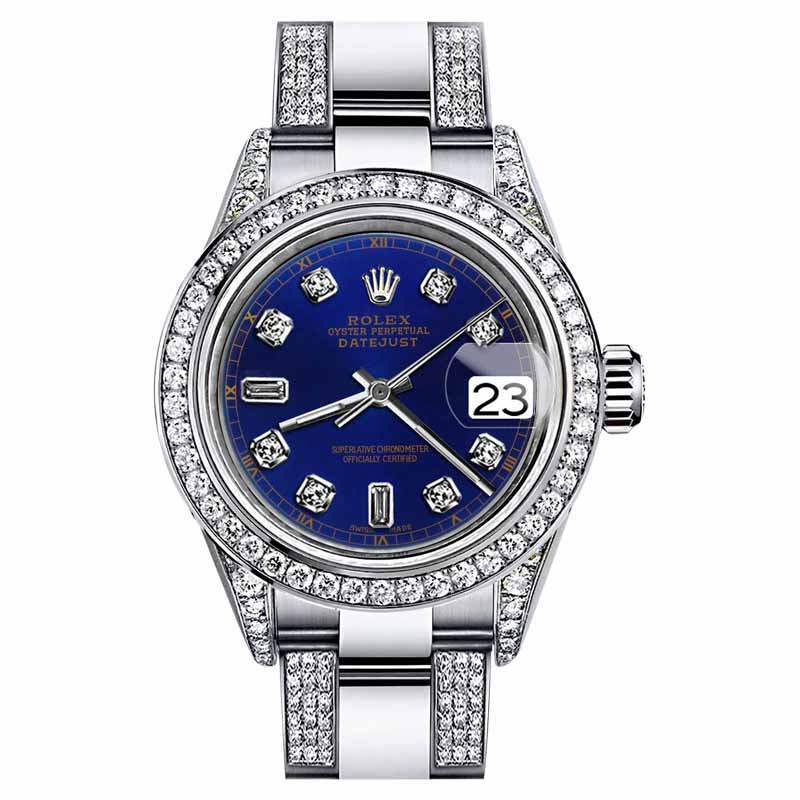 "Image of ""Rolex Datejust Stainless Steel Oyster Perpetual Diamonds Blue Color"""