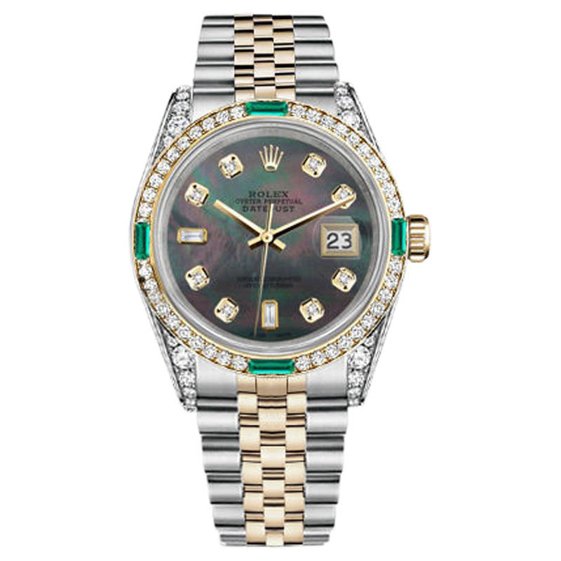 "Image of ""Rolex Datejust Stainless Steel & Gold Black MOP 8+2 Emerald Diamond"""