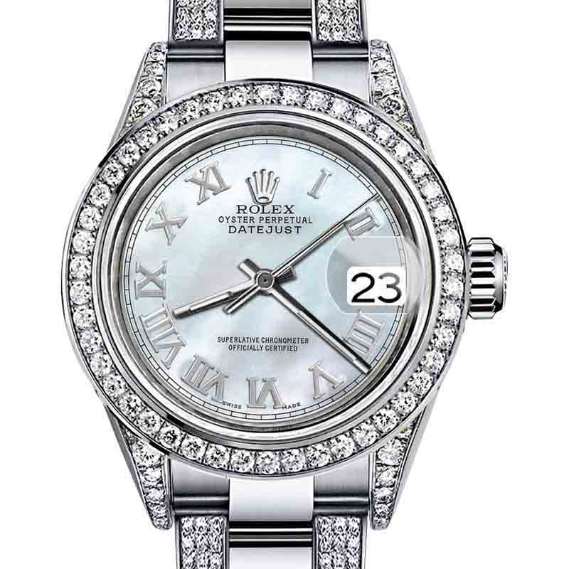 "Image of ""Rolex Oyster Perpetual Datejust Stainless Steel Diamonds White Tone"""