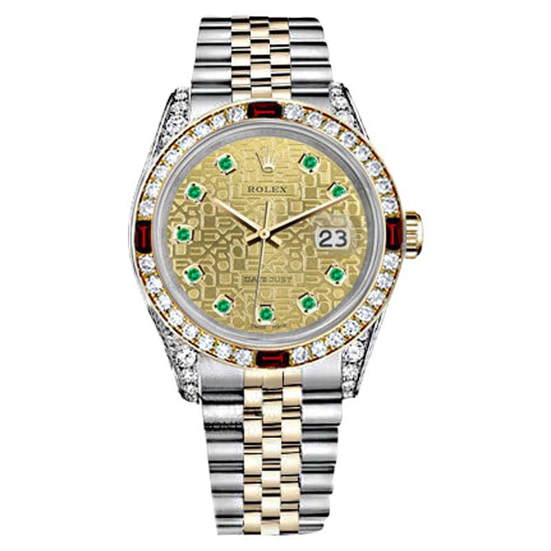"""Image of """"Rolex Datejust Steel & Gold Two Tone Dial Ruby & Diamond Watch"""""""