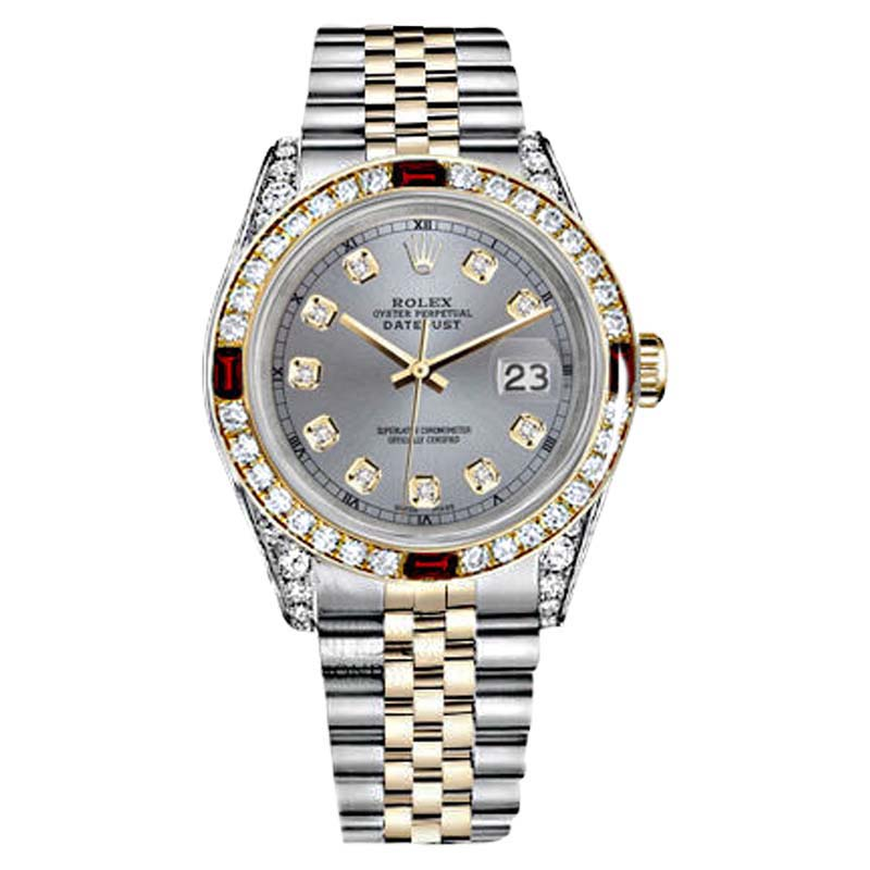 """Image of """"Rolex Datejust Stainless Steel 18K Yellow Gold Ruby and Diamond Grey"""""""