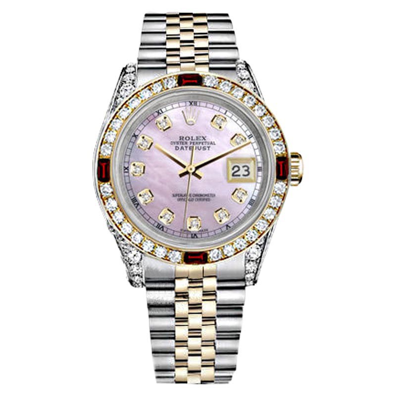 "Image of ""Rolex Stainless Steel & Gold Datejust Pink MOP Dial Ruby Diamond Bezel"""