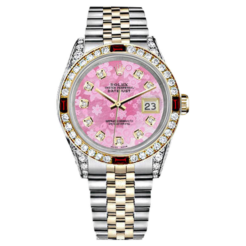 "Image of ""Rolex Datejust Steel & Gold Pink Flower MOP Dial Ruby & Diamond Womens"""