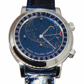 Patek Philippe Sky Moon Celestial 6102P-001 Platinum & Leather 44mm Watch