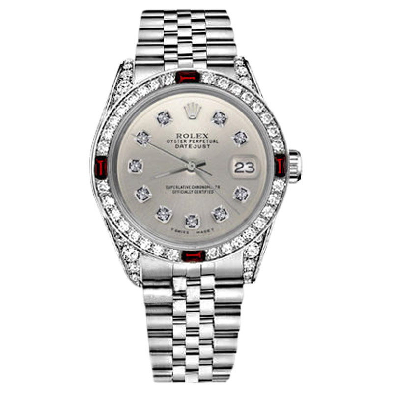 "Image of ""Rolex Datejust Stainless Steel Ruby Diamond & Silver Dial 31mm Womens"""