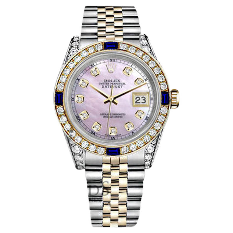 """Image of """"Rolex Datejust Stainless Steel Gold Pink Mother Of Pearl Dial Sapphire"""""""