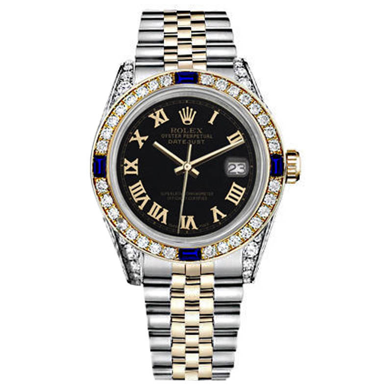 "Image of ""Rolex Small Steel & Gold Twotone Dial Sapphire & Diamond Bezel Watch"""