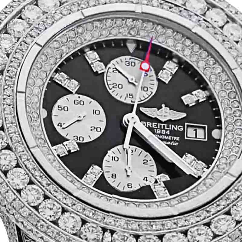 "Image of ""Breitling Super Avenger A13370 Stainless Steel & 30ct Diamond 48.4mm"""