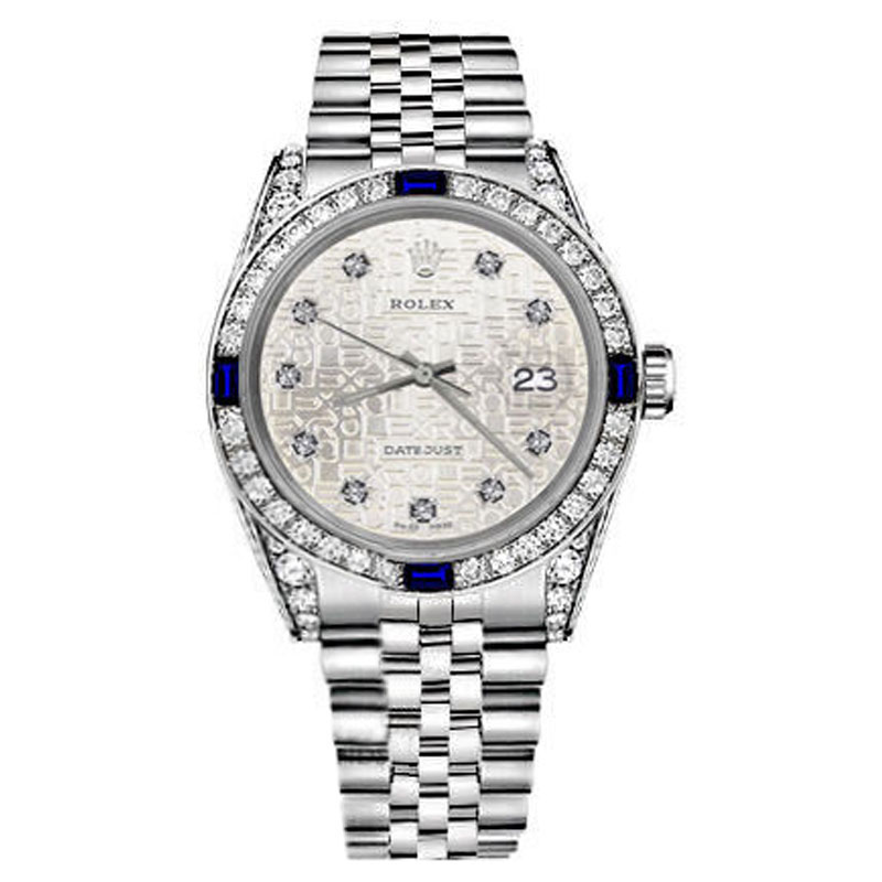 "Image of ""Rolex Datejust Silver Jubilee Metal Plate Dial Sapphire & Diamond 36mm"""
