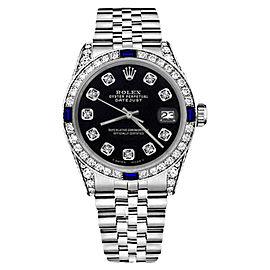 Rolex Datejust Black Color Dial With Sapphire & Diamonds Bezel 36mm Unisex Watch