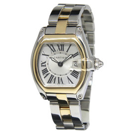 Cartier Roadster 2675 18K Yellow Gold & Stainless Steel Silver Dial Quartz Womens Watch