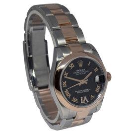 Rolex Datejust 178241 Steel & 18K Rose Gold Purple Diamond Dial Womens Watch 31mm