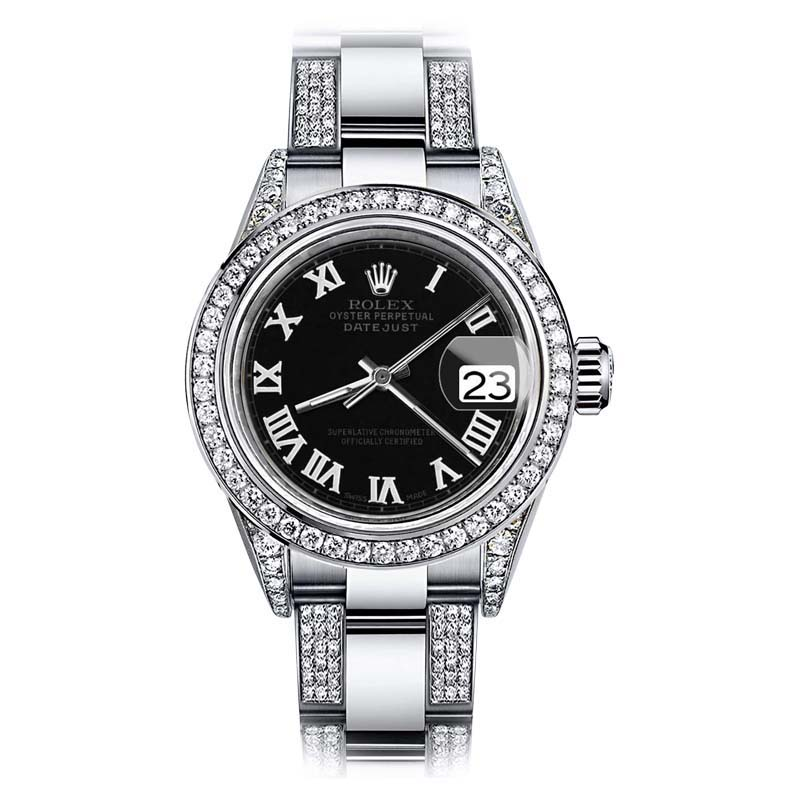 "Image of ""Rolex Oyster Perpetual Datejust Stainless Steel with Diamonds Black"""